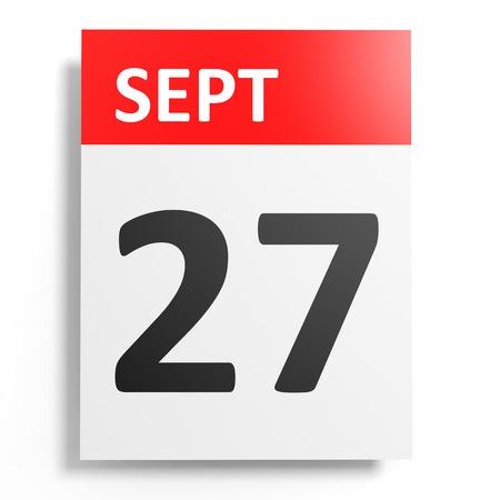 27: Calendar on white background. 27 September. 3D illustration.