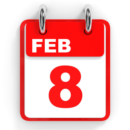 february: Calendar on white background. 8 February. 3D illustration.