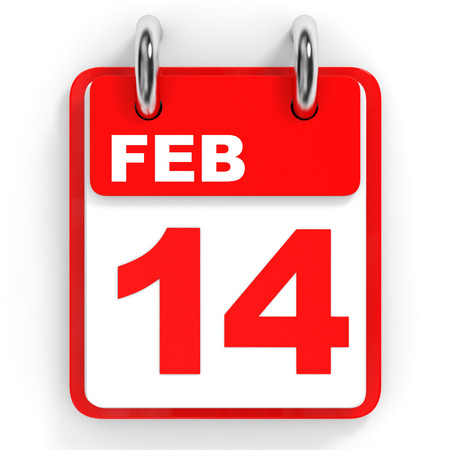 14 of february: Calendar on white background. 14 February. 3D illustration.