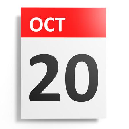 october: Calendar on white background. 20 October. 3D illustration.