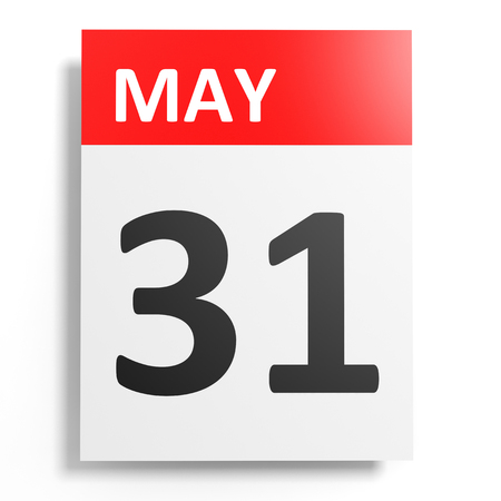 Calendar on white background. 31 May. 3D illustration. 版權商用圖片