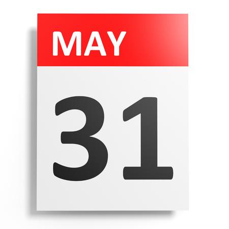 Calendar on white background. 31 May. 3D illustration. Stock Photo