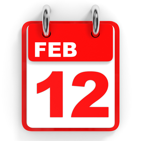 a 12: Calendar on white background. 12 February. 3D illustration.