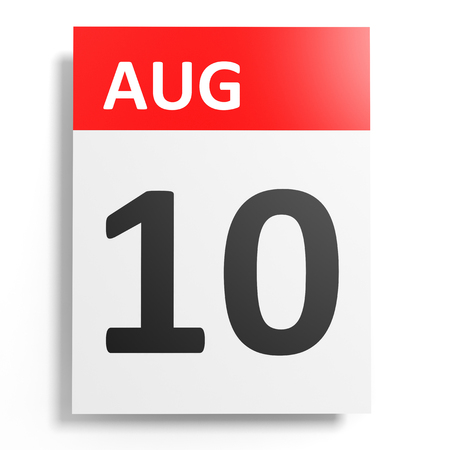10th: Calendar on white background. 10 August. 3D illustration.