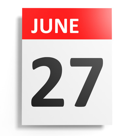 27: Calendar on white background. 27 June. 3D illustration. Stock Photo