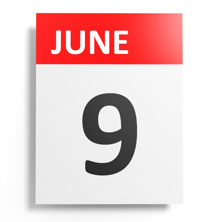 9th: Calendar on white background. 9 June. 3D illustration.