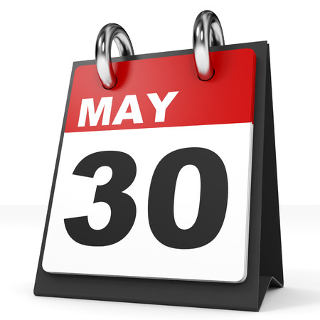 30th: Calendar on white background. 30 May. 3D illustration. Stock Photo
