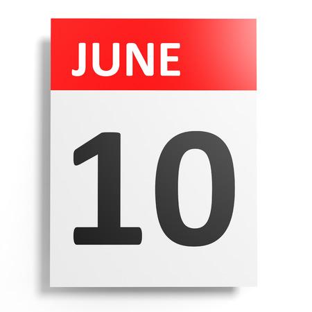 10th: Calendar on white background. 10 June. 3D illustration. Stock Photo