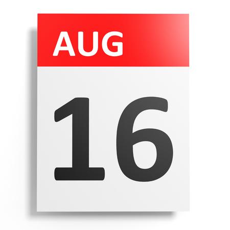 16: Calendar on white background. 16 August. 3D illustration.