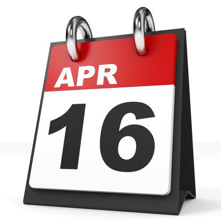 16: Calendar on white background. 16 April. 3D illustration. Stock Photo