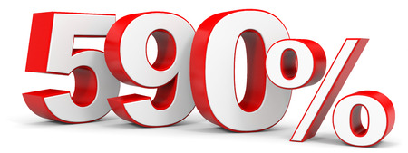price hit: Discount 590 percent off. 3D illustration.