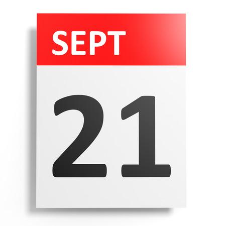 september: Calendar on white background. 21 September. 3D illustration.
