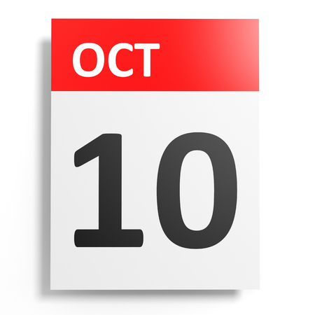 10th: Calendar on white background. 10 October. 3D illustration.