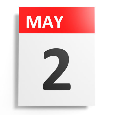2 months: Calendar on white background. 2 May. 3D illustration. Stock Photo