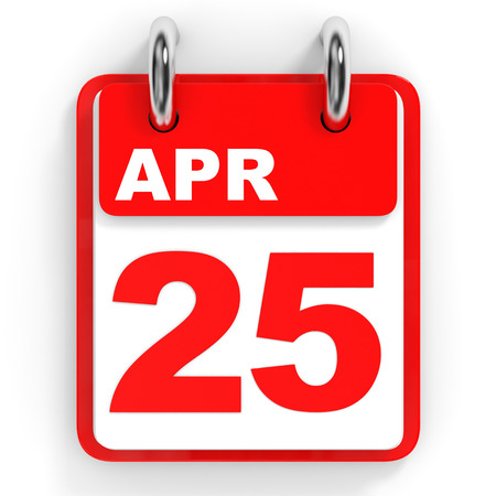 the twenty fifth: Calendar on white background. 25 April. 3D illustration. Stock Photo