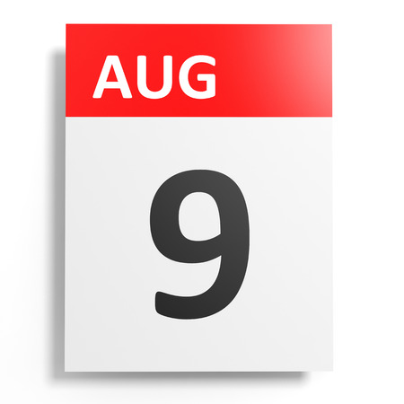 9th: Calendar on white background. 9 August. 3D illustration.