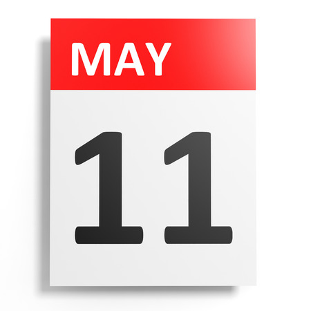 eleventh: Calendar on white background. 11 May. 3D illustration.