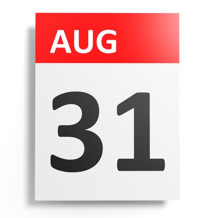 31th: Calendar on white background. 31 August. 3D illustration.