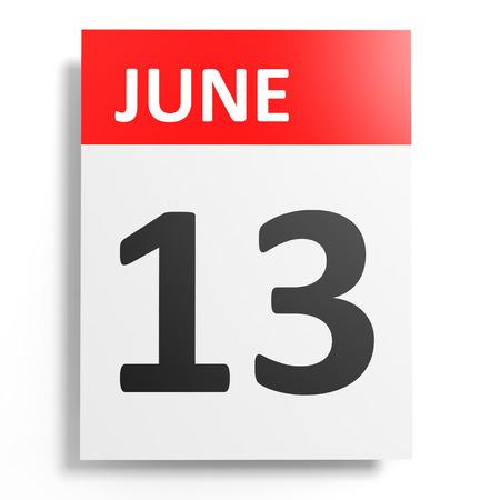 13th: Calendar on white background. 13 June. 3D illustration.