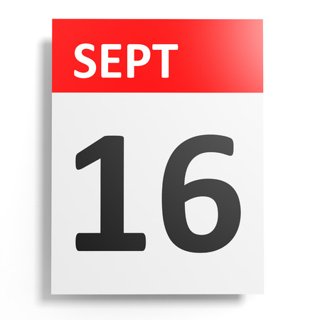 16: Calendar on white background. 16 September. 3D illustration.