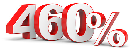 price hit: Discount 460 percent off. 3D illustration. Stock Photo