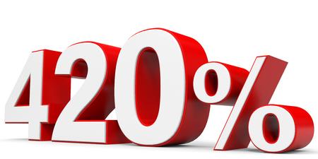 price hit: Discount 420 percent off. 3D illustration. Stock Photo