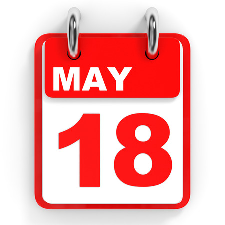 18: Calendar on white background. 18 May. 3D illustration.