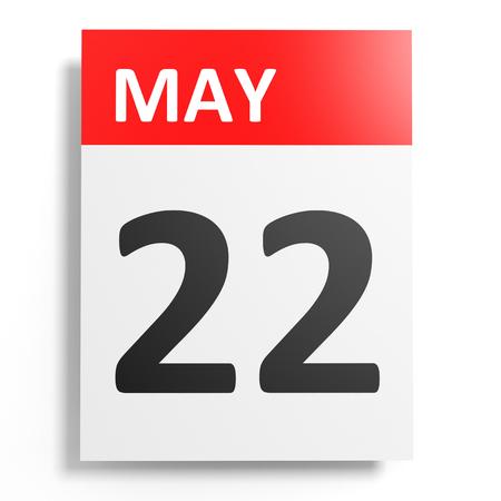 twenty second: Calendar on white background. 22 May. 3D illustration.