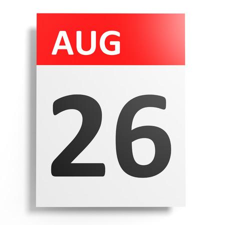 twenty six: Calendar on white background. 26 August. 3D illustration.