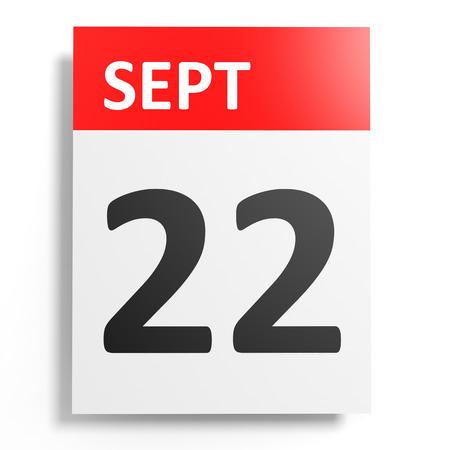 twenty second: Calendar on white background. 22 September. 3D illustration.
