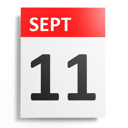 eleventh: Calendar on white background. 11 September. 3D illustration.