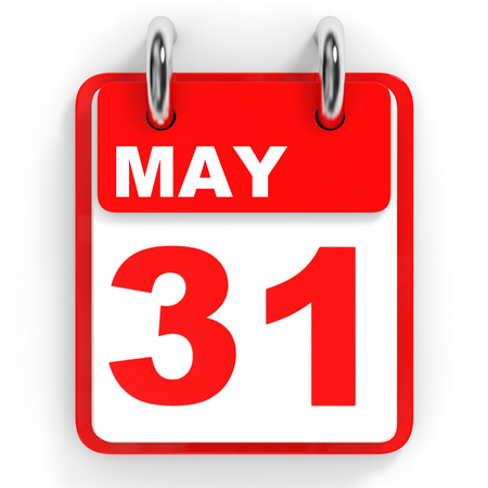 31th: Calendar on white background. 31 May. 3D illustration. Stock Photo