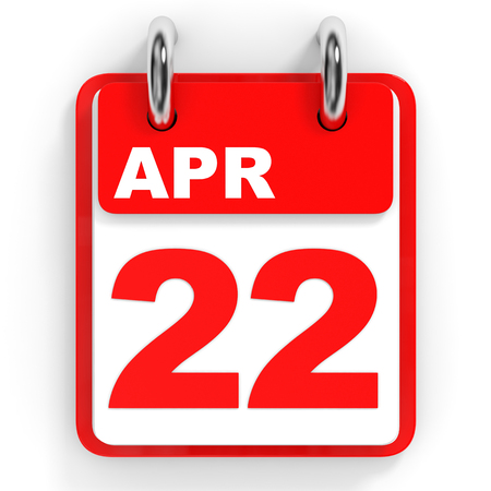 twenty second: Calendar on white background. 22 April. 3D illustration.