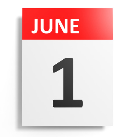 one on one meeting: Calendar on white background. 1 June. 3D illustration. Stock Photo