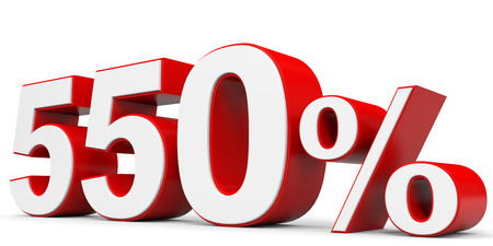 price hit: Discount 550 percent off. 3D illustration. Stock Photo