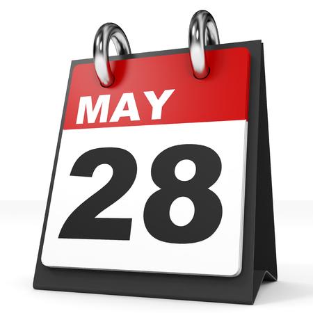 28: Calendar on white background. 28 May. 3D illustration.