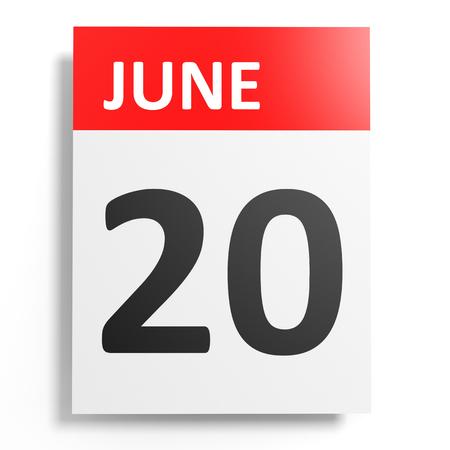 20th: Calendar on white background. 20 June. 3D illustration. Stock Photo