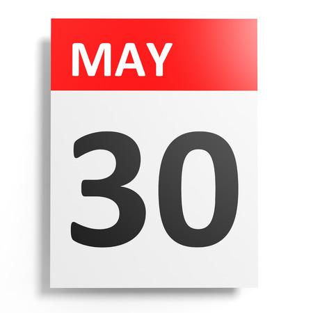 30: Calendar on white background. 30 May. 3D illustration. Stock Photo