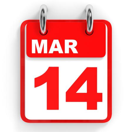 fourteenth: Calendar on white background. 14 March. 3D illustration.