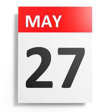 seventh: Calendar on white background. 27 May. 3D illustration.