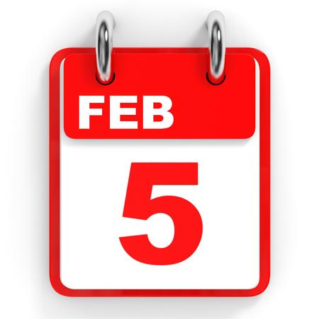 5th: Calendar on white background. 5 February. 3D illustration.
