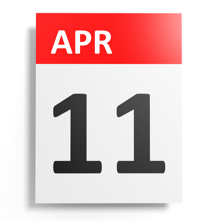 number 11: Calendar on white background. 11 April. 3D illustration. Stock Photo