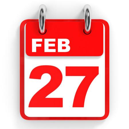 27: Calendar on white background. 27 February. 3D illustration.