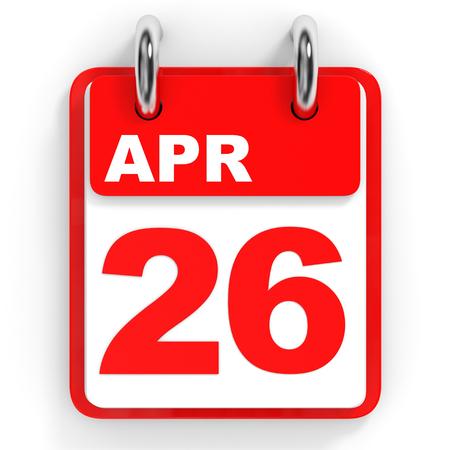 twenty sixth: Calendar on white background. 26 April. 3D illustration.