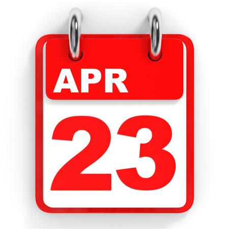 twenty second: Calendar on white background. 23 April. 3D illustration.