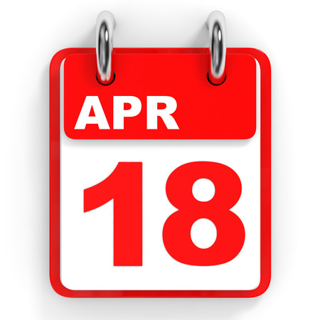 18th: Calendar on white background. 18 April. 3D illustration. Stock Photo