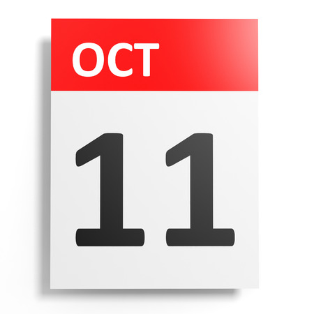 number 11: Calendar on white background. 11 October. 3D illustration.