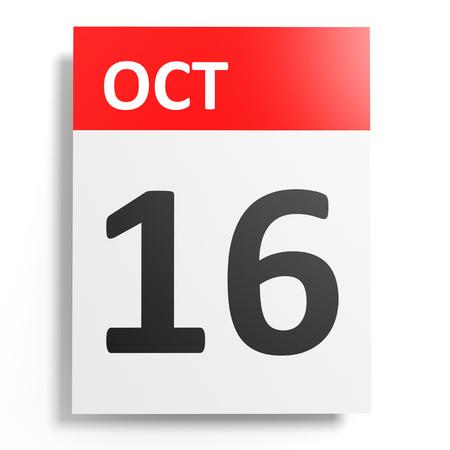 october: Calendar on white background. 16 October. 3D illustration. Stock Photo