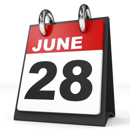 28: Calendar on white background. 28 June. 3D illustration.