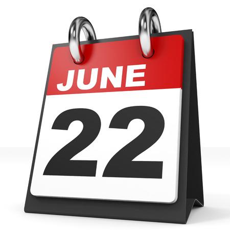 2 months: Calendar on white background. 22 June. 3D illustration. Stock Photo